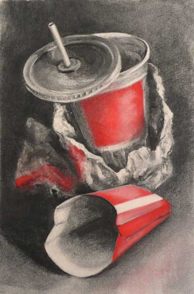 fries to go   charcoal still life drawing  carbon