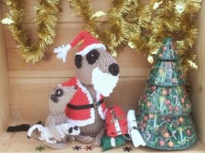 knitted meerkat santa