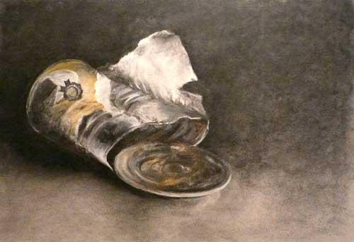 empty pumpkin pie can - charcoal still life drawing by Jo Bradney