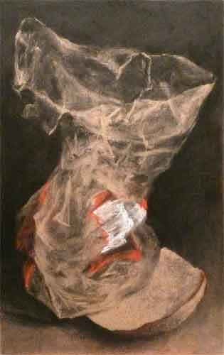 charcoal, white charcoal and pastel still life drawing of a plastic bread bag and crust