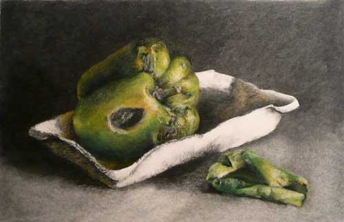 charcoal drawing of a moldy green pepper