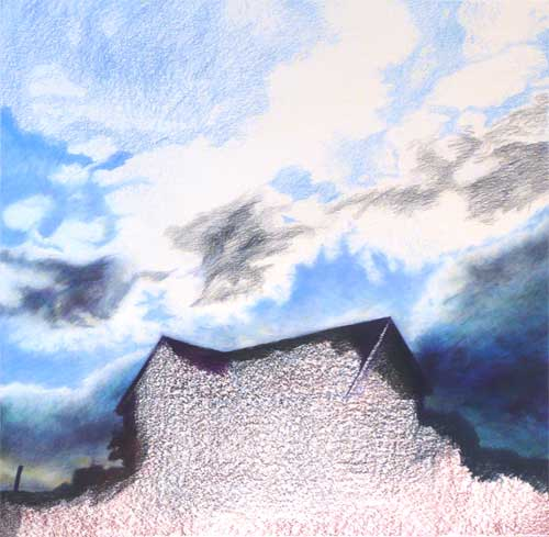 cloudscape color pencil drawing