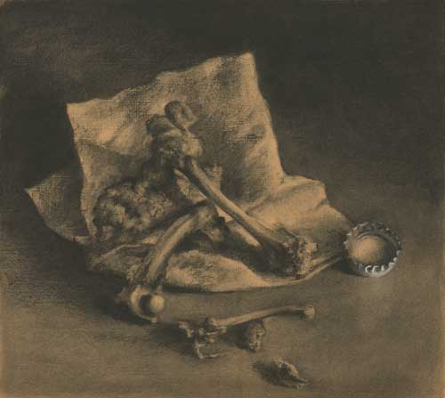 chicken bones and napkin : charcoal still life drawing