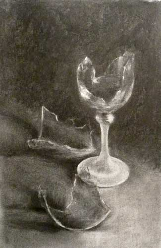 broken wine glass charcoal drawing