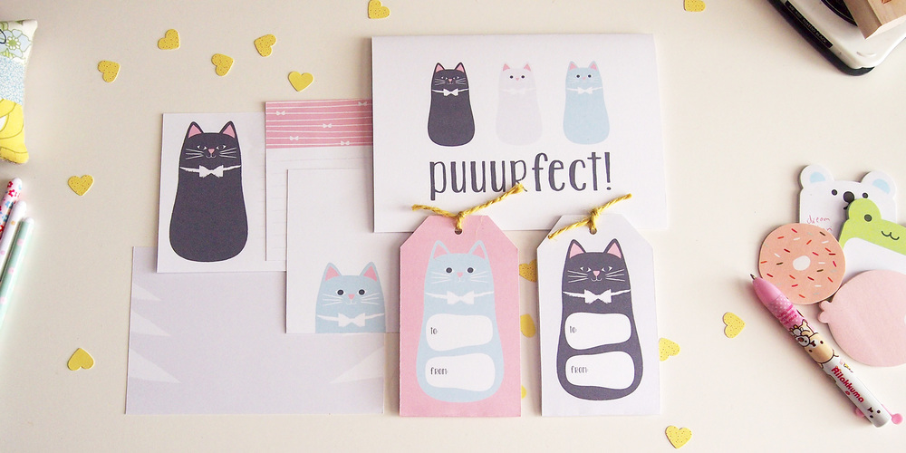 Puuurfect Cat Themed Printable Stationery Set