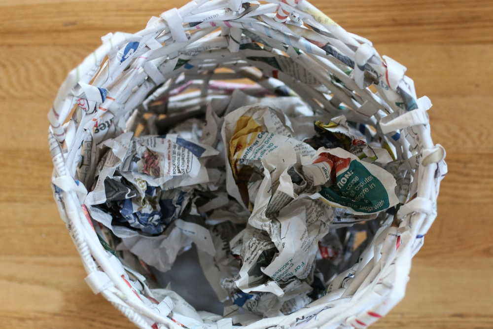 Basket Making Using Recycled Materials : Kids create recycled paper basket petit a family