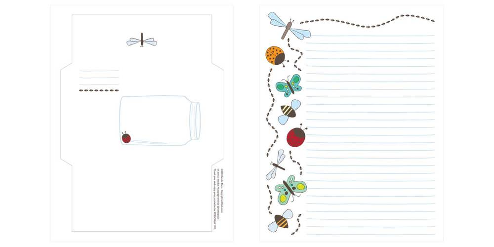 Printable Bug Stationery — Petit A Petit +Family