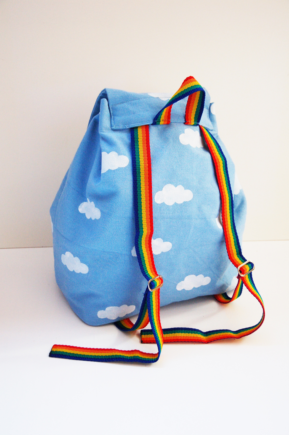 Cloud backpack with rainbow straps