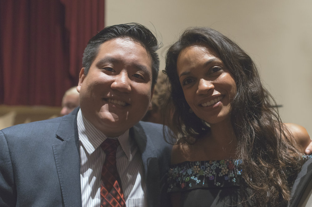 Broadway Stages General Counsel Anthony K.C. Fong Esq. with Rosario Dawson RECEIVER of the vareity emsemble award