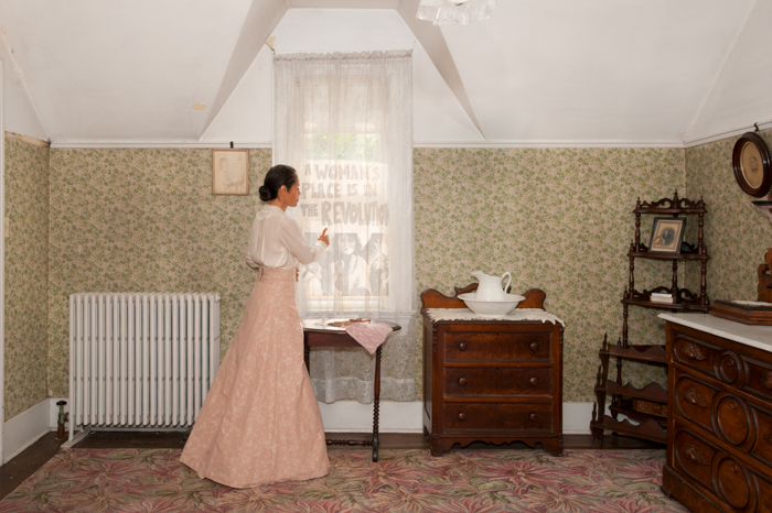 "A Woman's Place.   From May through June of 2018 I had the opportunity to be the artist in residence at the Frances Willard House Museum. The Frances Willard House, known familiarly as Rest Cottage, was the Evanston, IL home of Frances Willard and the Women's Christian Temperance Union (WCTU).  Don't judge the name as I might have, but think of being a woman in the late 1800 and think of the search for community with other women, think not of Christian and Temperance, but of Women and Union.  The WCTU with Willard at its helm was home to some of the most strategic organizing of for and by women in the late 1800 and early 1900. Willard's belief was that the Union should ""Do Everything"", not be limited by Temperance, but address the many social ills caused by alcohol abuse and endemic domestic violence as a starting point.  Under Willard the WCTU was a platform to advocate for women's empowerment and provide the skills they would need to exist in a society in which they were empowered. Some of the social organizing efforts they pursued included education for girls and women, suffrage, increasing the age of consent, legal aid, refuge rights, non-violent demonstration, issues effecting incarcerated women, prostitution, anti-lynching, food and drug laws, housing, welfare and world peace. When the WCTU met for national meetings it was the only organization of its time that did not segregate meetings by race and thus women of the WCTU forged meaningful relationships across boundaries of race and personal origin.  Willard also developed relationships with women from around the world and shared her message of empowerment across international borders.  As the artist in residence I spent time learning about the history of Willard's life and organizing efforts and imagined what life might have been like for a headstrong intellect such as herself in a time when women were not afforded public agency and voice. Upon learning of Willards deep commitment to her work of cultivating a public voice and political power for women I became intrigued by her influences and inspiration. My intent in this project was to take the seed of early women's organizing and imagine a conversation between past and present in which the past speaks to the future, but so too does the future speak to the past; imagining that we learn and shape our actions based in part on who has come before us and who will come after us, we are our foremothers and our future daughters, and our actions and understanding of the past deeply inform our creation of the future.  I looked at many of the issues the WCTU worked on then and how today we, active and engaged citizens, are still working on versions of the same issues.  In some cases I reimagined actual interactions and in other cases I imagined potential interactions. In my conversations with director Lori Osborne, I was taken with stories of members of the WCTU both local, national and international, including Pendita Ramibi, Frances Harper, Catherine Waugh McCulloch, Frances Willard Wong, Rebecca Krikorian and Anna Gordon. I was also curious to learn more about the public tension between Ida B Wells and Frances Willard. I remain eager to learn more about the many and varied women who stood with the WCTU."