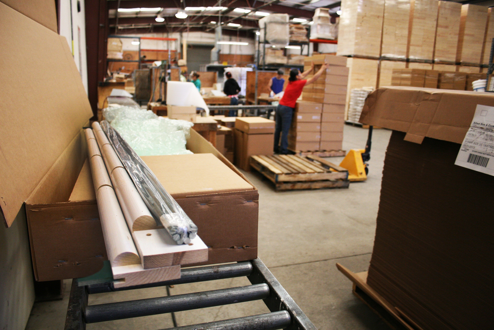 The packing line prepares products to ship out.