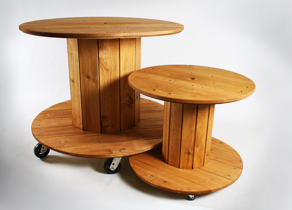 Industrial Style Spool Nesting Tables (Concept).  Pine, Birch Plywood.