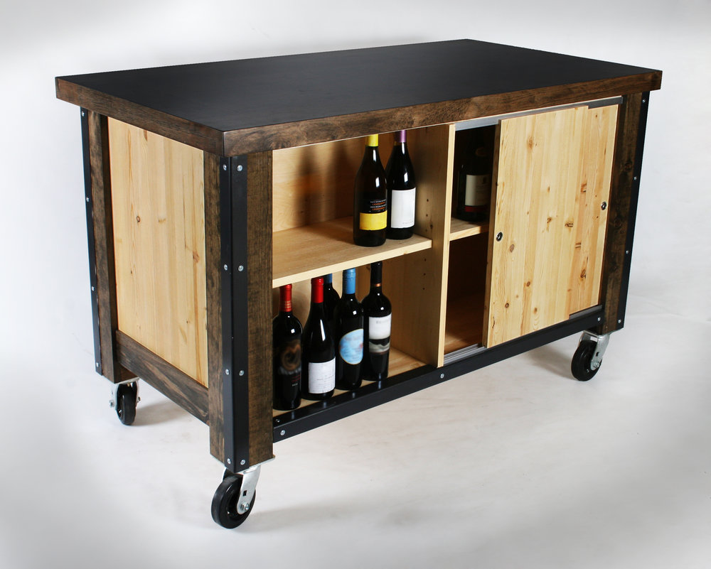 Cost Plus Wine Tasting Cart (Concept). Pine, Fir, Steel.