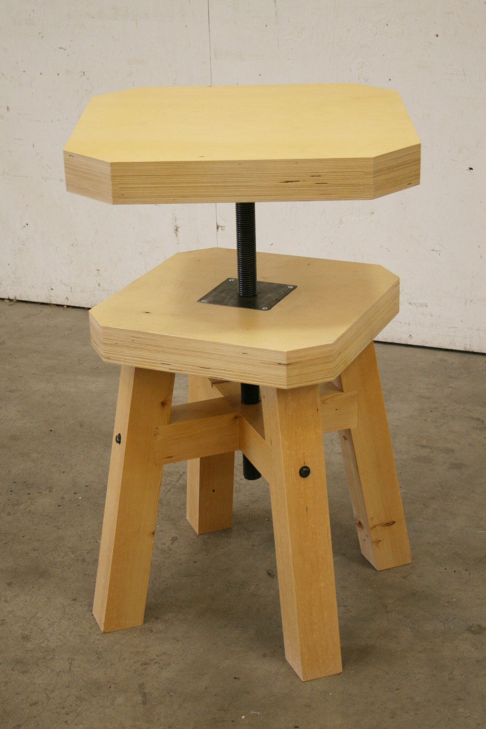 Sculptors Table (Concept).  Laminated Birch Plywood, Fir, Steel.