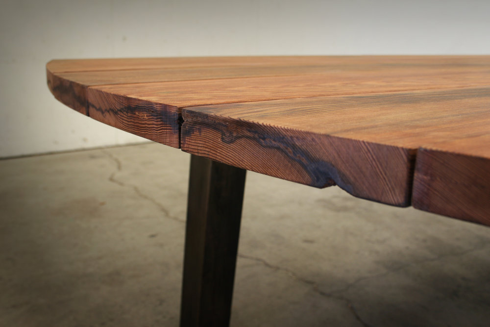 Reclaimed Redwood Table, End View.