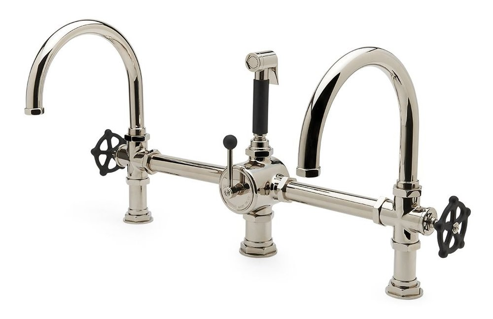Waterworks  Regulator Gooseneck Double Spout Marquee Kitchen Faucet, Matte Black Wheel Handles and Spray