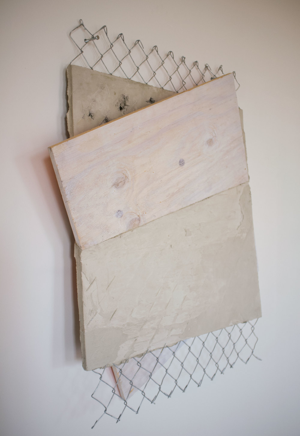 """Zero Again"" - Rapid Set Cement, Acrylic, Chain Link, Plywood, Spray Paint"