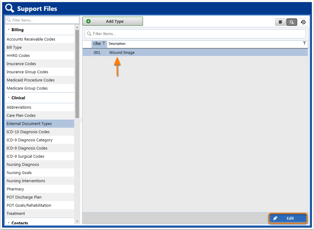 Support File Manager: External Document Types