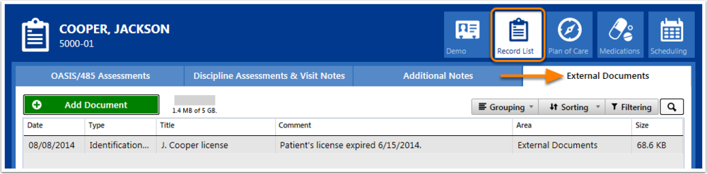 External Document Tab within the Patient Record