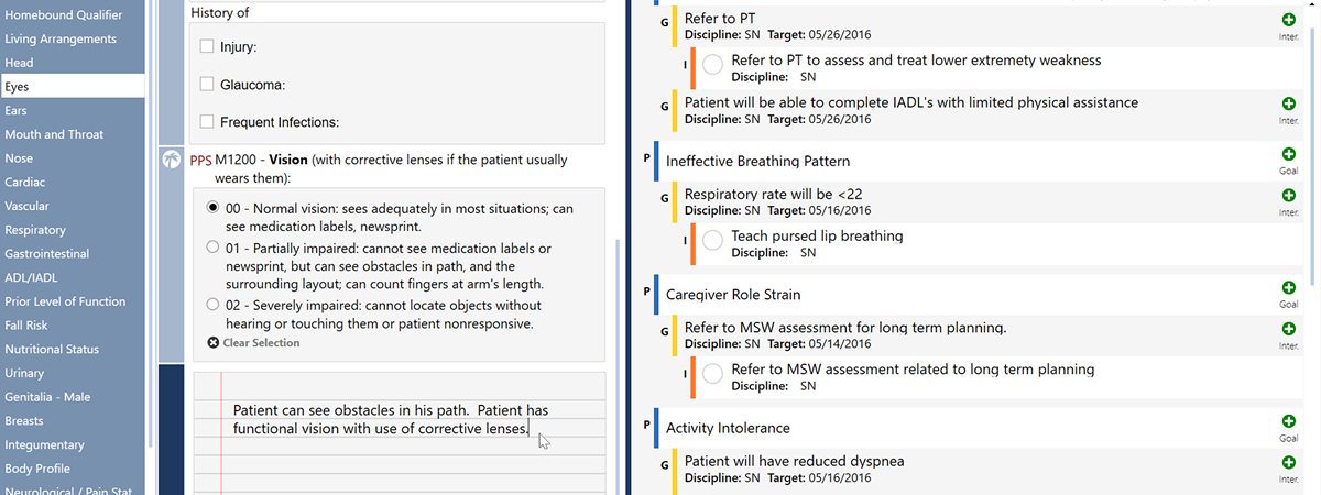Detail of a MAX Start of Care assessment. Note OASIS and Clinical data points, the unlimited narrative card, and the integrated Plan of Care.