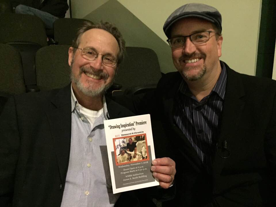 Leigh Rubin and Ryan Johnson at Drawing Inspiration Premiere