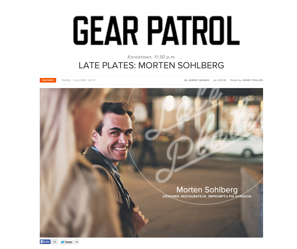 "Gear Patrol's new column ""Late Plates"" features as its first guest Morten Sohlberg, owner of Blenheim Hill, affectionately titled ""Designer, Restauranteur, Impromptu Pig Surgeon."""