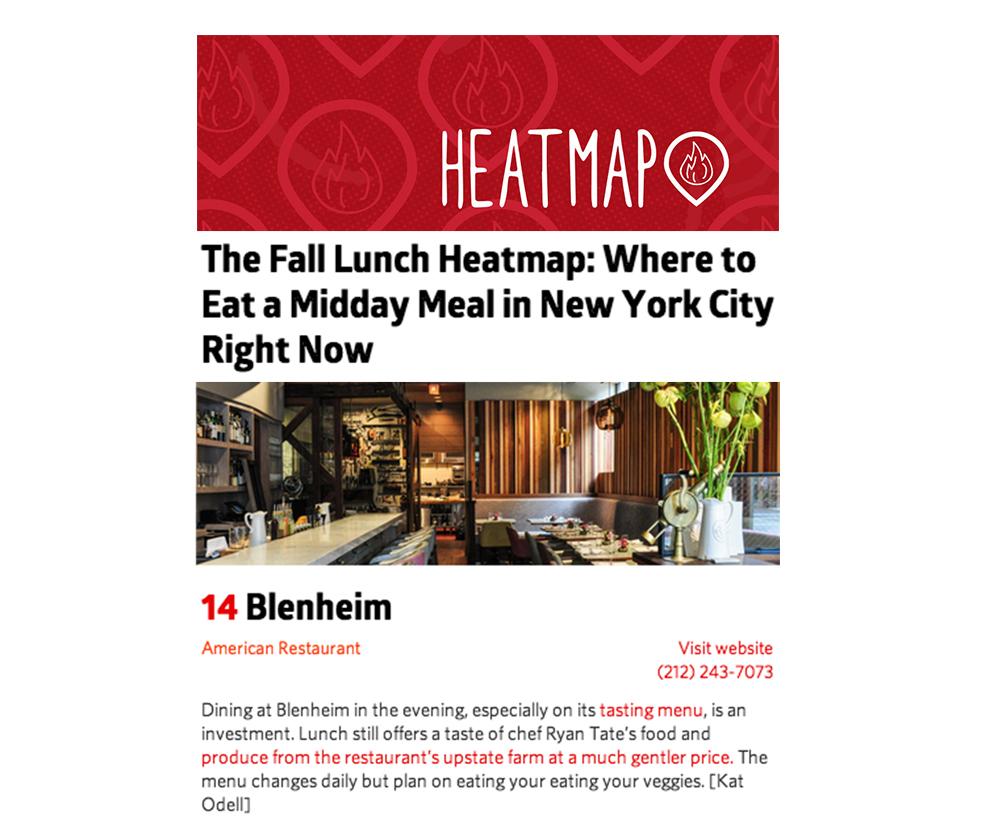 press — Blenheim Restaurant   West Village, New York