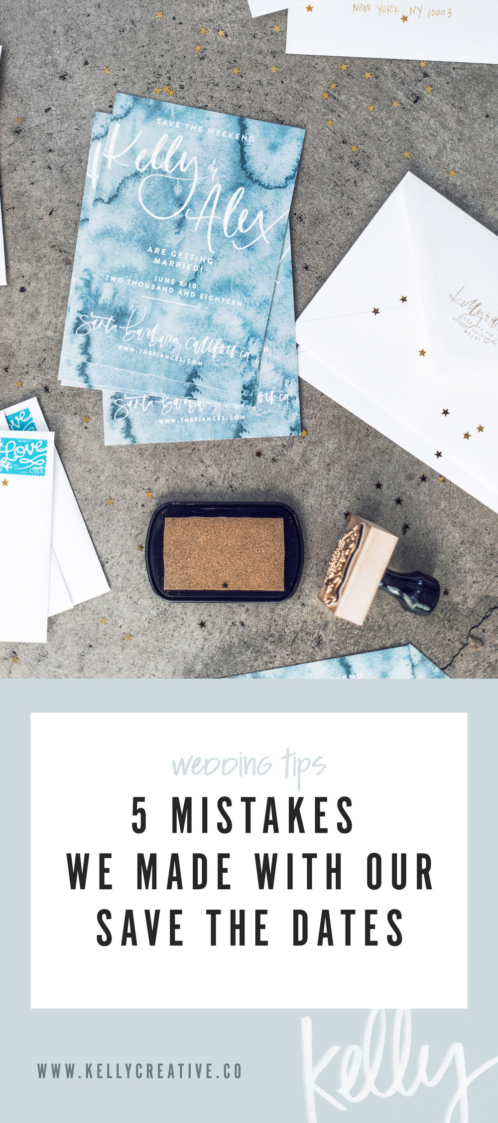5 Mistakes We Made With Our Save the Dates / wedding tips / invitations / graphic design / hand lettering / kelly creative