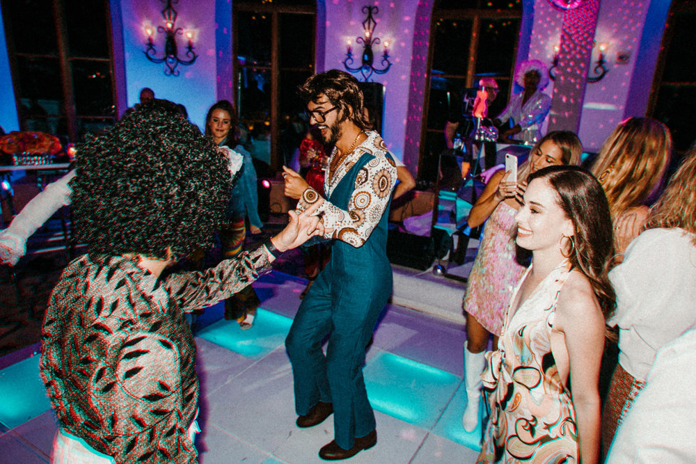 Disco Theme Wedding Welcome Party / Rehearsal Dinner Costume Party