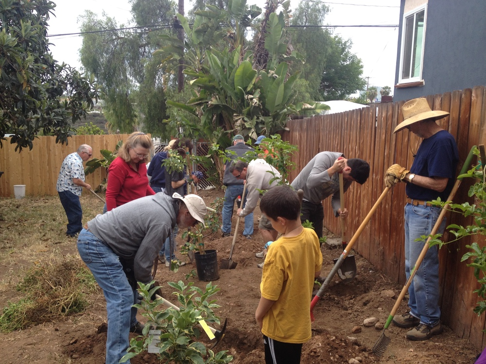 Digging basins and planting trees was an essential part of the greywater system in North Park.