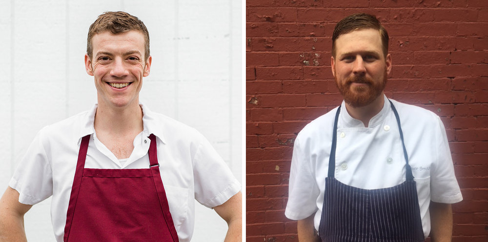 Chef Carl Dooley of The Table at Season to Taste (left) and Chef Trevor Smith of Coppa (right)