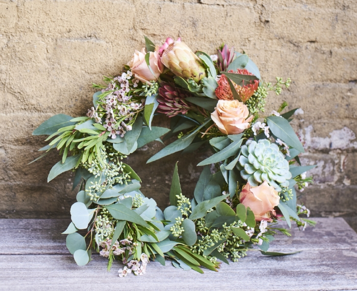 $150 custom wreath with proteas, roses, succulents or air plants