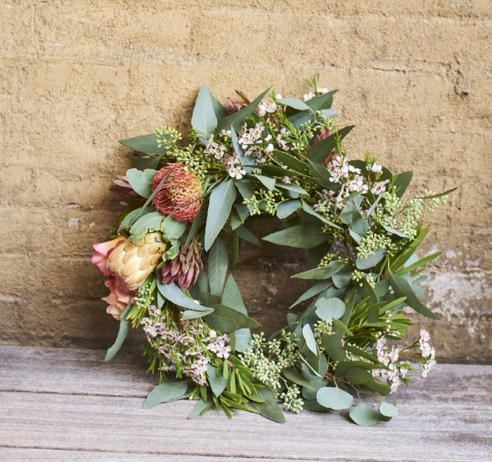 $100 custom wreath including proteas and roses