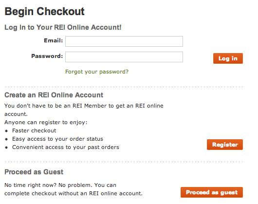 REI checkout page