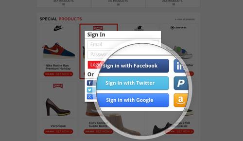 social media login example
