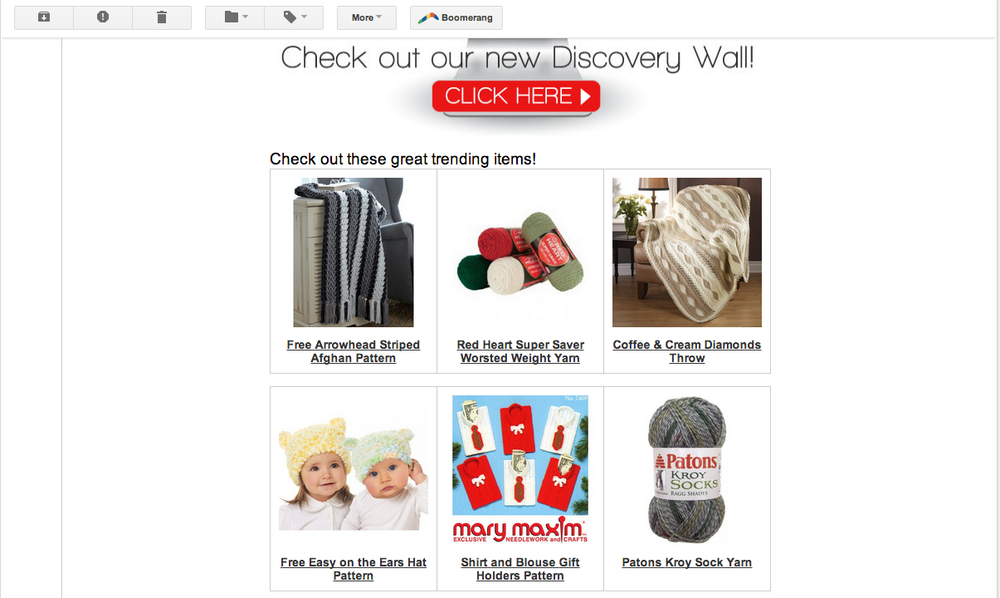 Mary Maxim email campaign featuring Discovery Wall