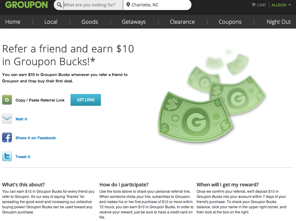 Groupon Refer-a-Friend page