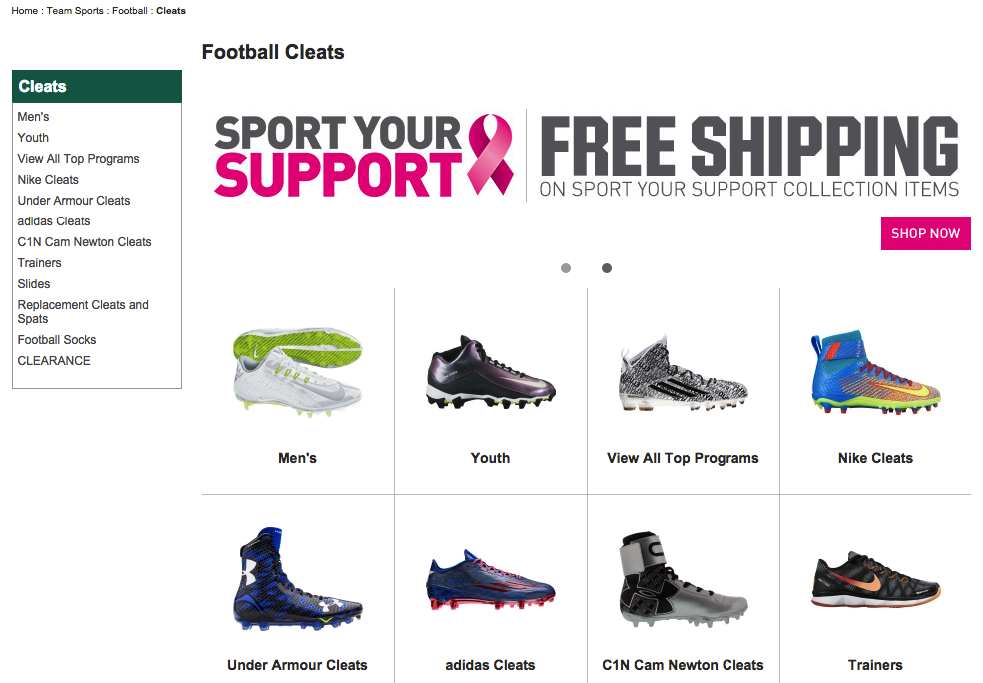 Dick's Sporting Goods subcategory page