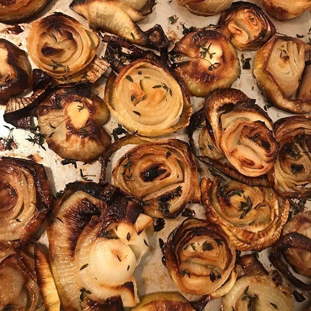 Onions roasting for your potatoes, pilafs, and purées! #HarvestandRevel