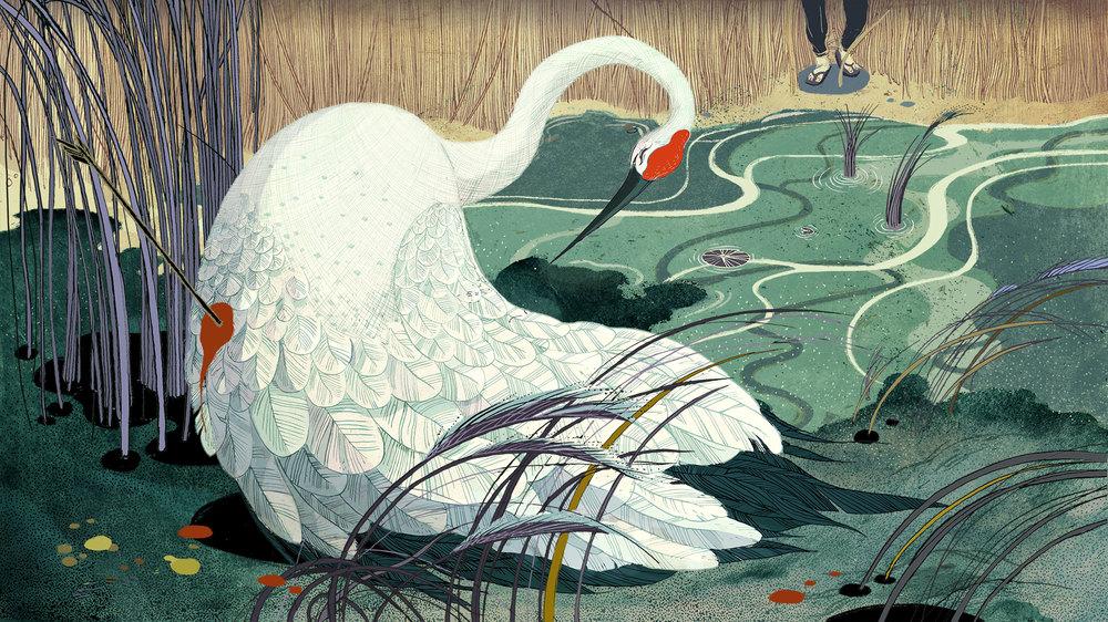ヴィクト・ナイのイラストで昔話が生き返る。「頑張って!」ヴィクト・ナイのサイン入りのツルのイラストのアートプリント