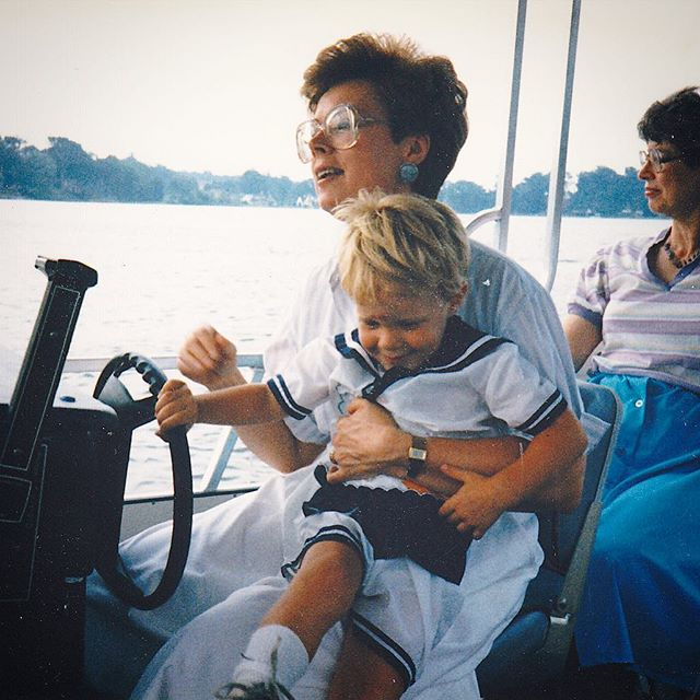 "This is my kind of ""outdoorsy"" being on a boat dressed in white and navy taking in the sights. I love this #tbt of Nana and I at Congress Lake on the pontoon boat cruising away. Times like these fueled my passion for outdoor living, everything from sleeping on the screened in porch to helping set up a huge family dinner on the deck. So let's think about fun ways to do more without walls. What are your favorite childhood memories from being outside? #outfits #outdoors #pontoon #congresslake #ohio #ohioboy #theodore #lifestyle #preppy"