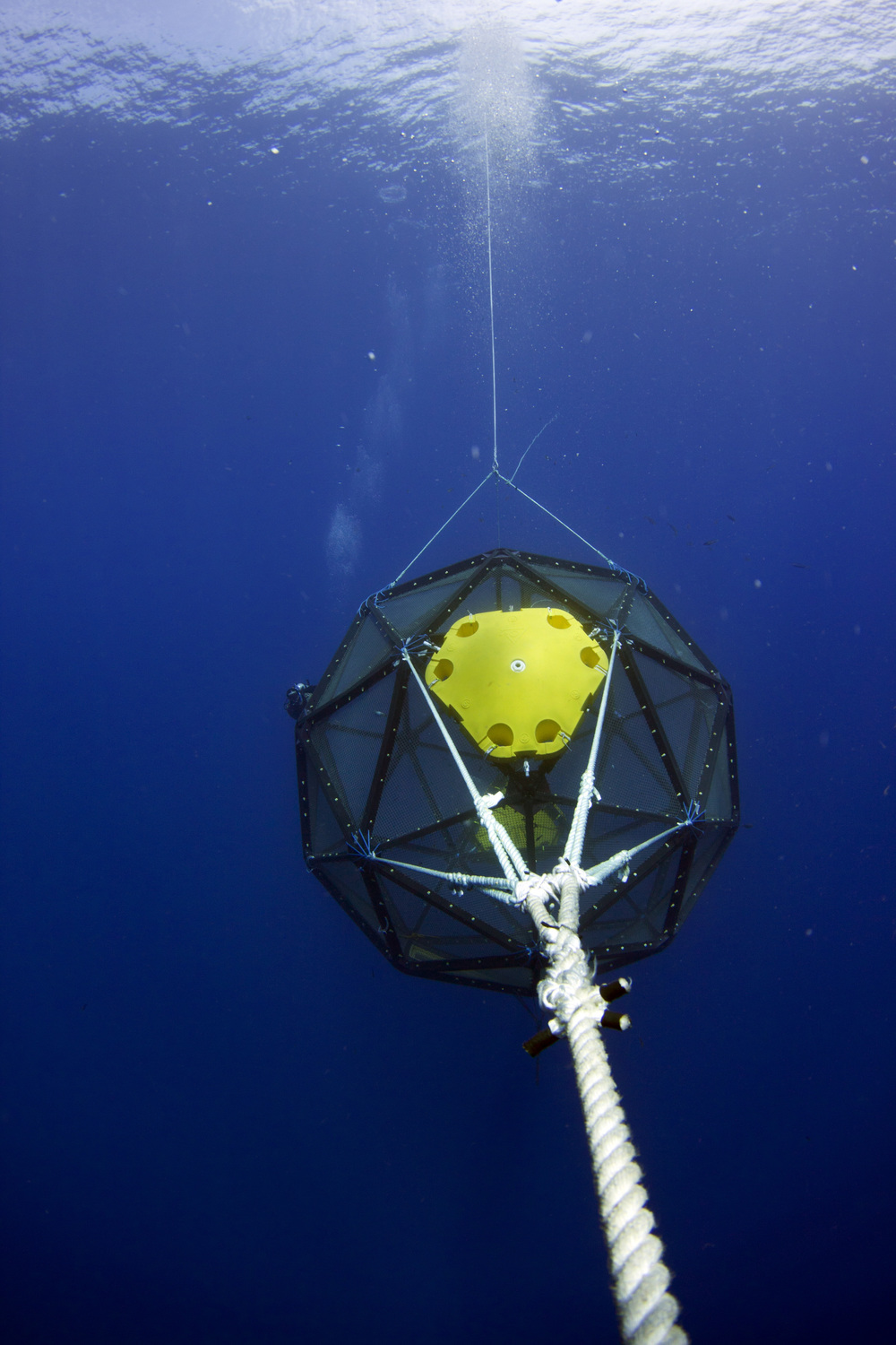 The Aquapod viewed along the tether line from the single point mooring, floating some 6,000 feet above the sea floor.