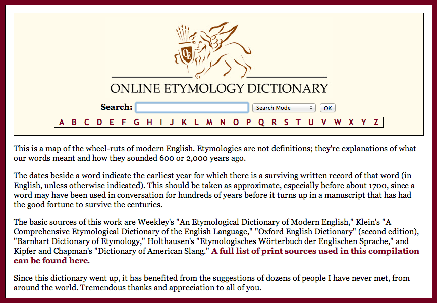 THE ONLINE ETYMOLOGICAL DICTIONARY ➤➤