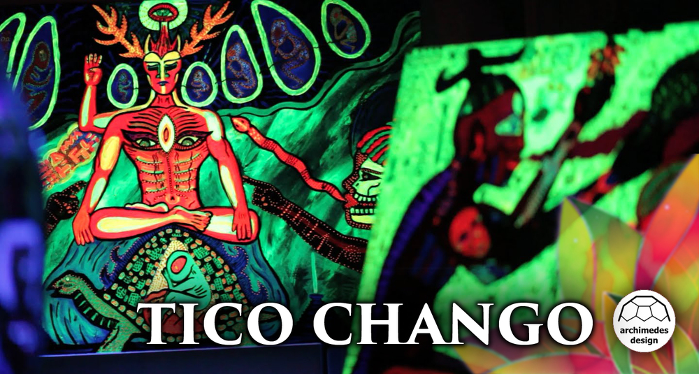 Tico Chango will be producing and curating visionary art for the Archimedes Black Light Dome at Gratitude Migration 2016.