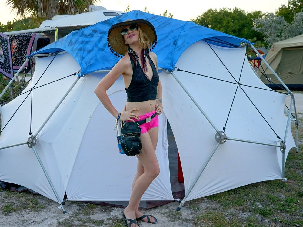 Frozone Love Burn, Miami. FL February 2017 Canopy Kit Frame: Scout Canopy: Blue, custom dyed Tent: White, flap door Retail: $1800