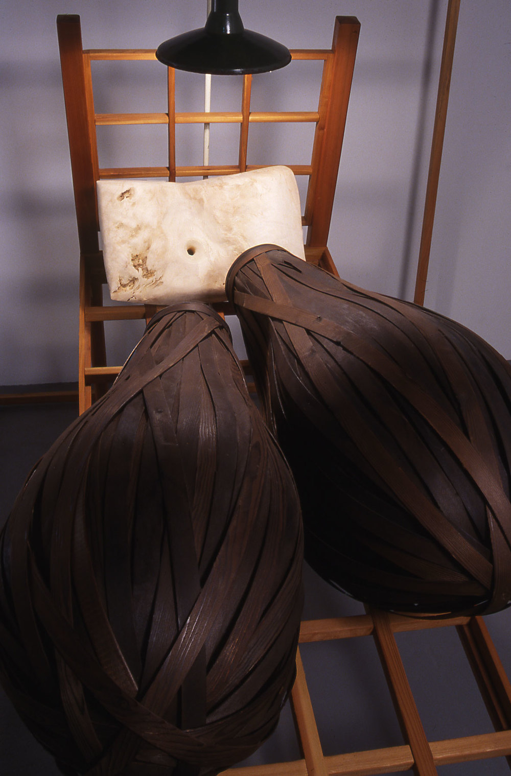 """""""Sleeping Double in a Single Bed"""", wood sculpture detail view, © Tom Gormally"""