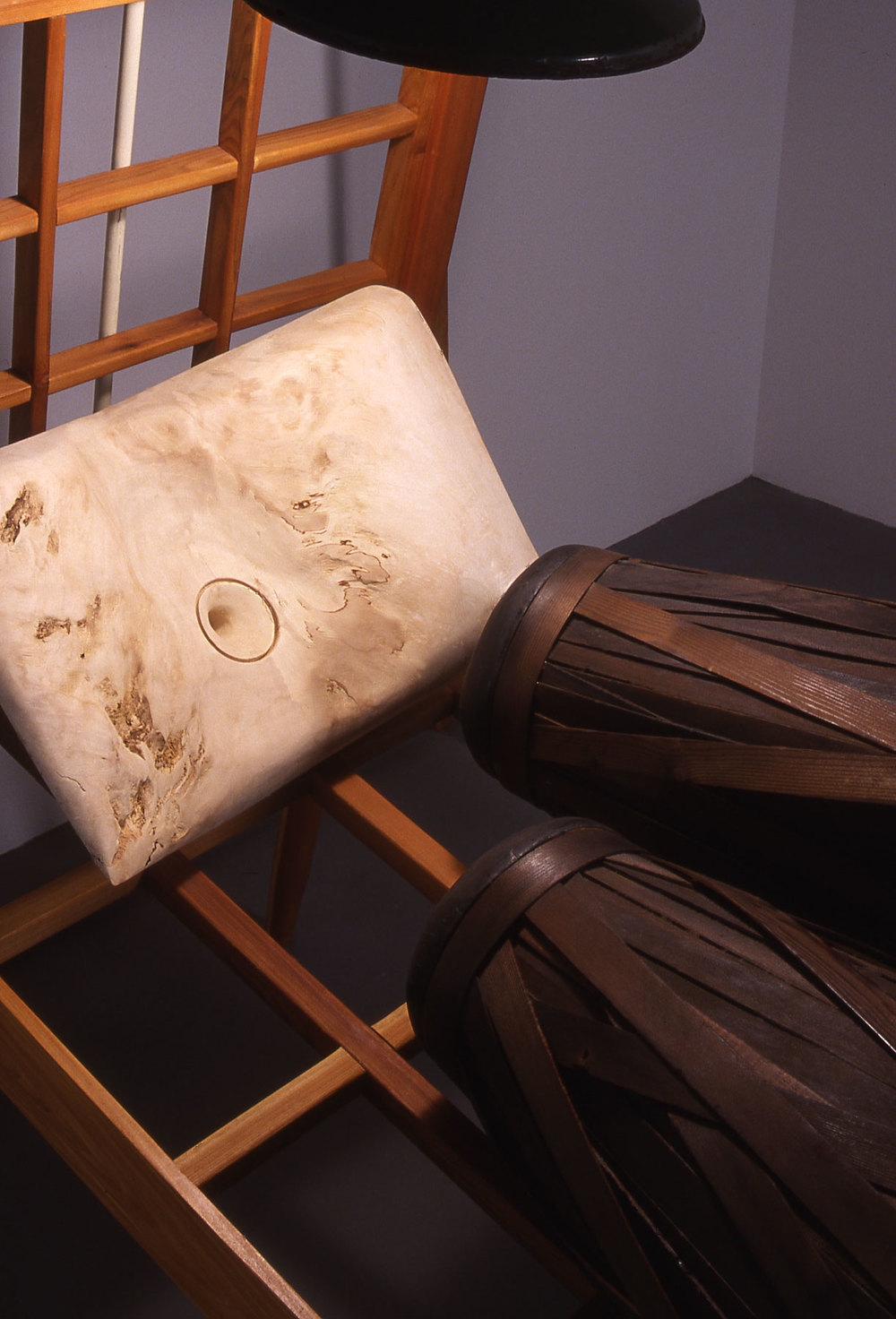 """""""Sleeping Double in a Single Bed"""", wood sculpture detail view; © Tom Gormally"""
