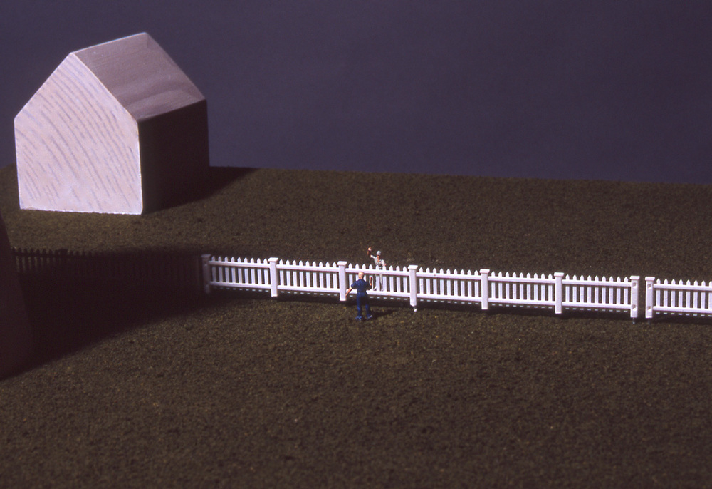 """Good Fences Make Good Neighbors"", detail; 56"" h x 24"" w x 21"" d; wood, flocking and vinyl; © Tom Gormally"