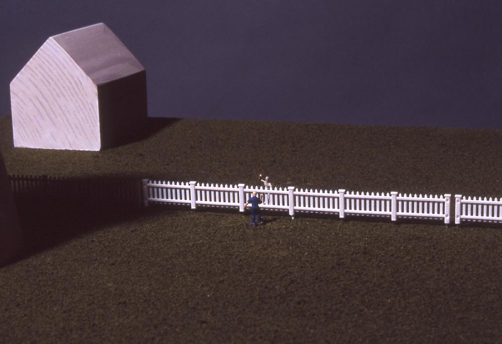 """Good Fences Make Good Neighbors"", detail; 56"" h x 24"" w x 21"" d; wood, flocking and vinyl; © Tom Gormally"