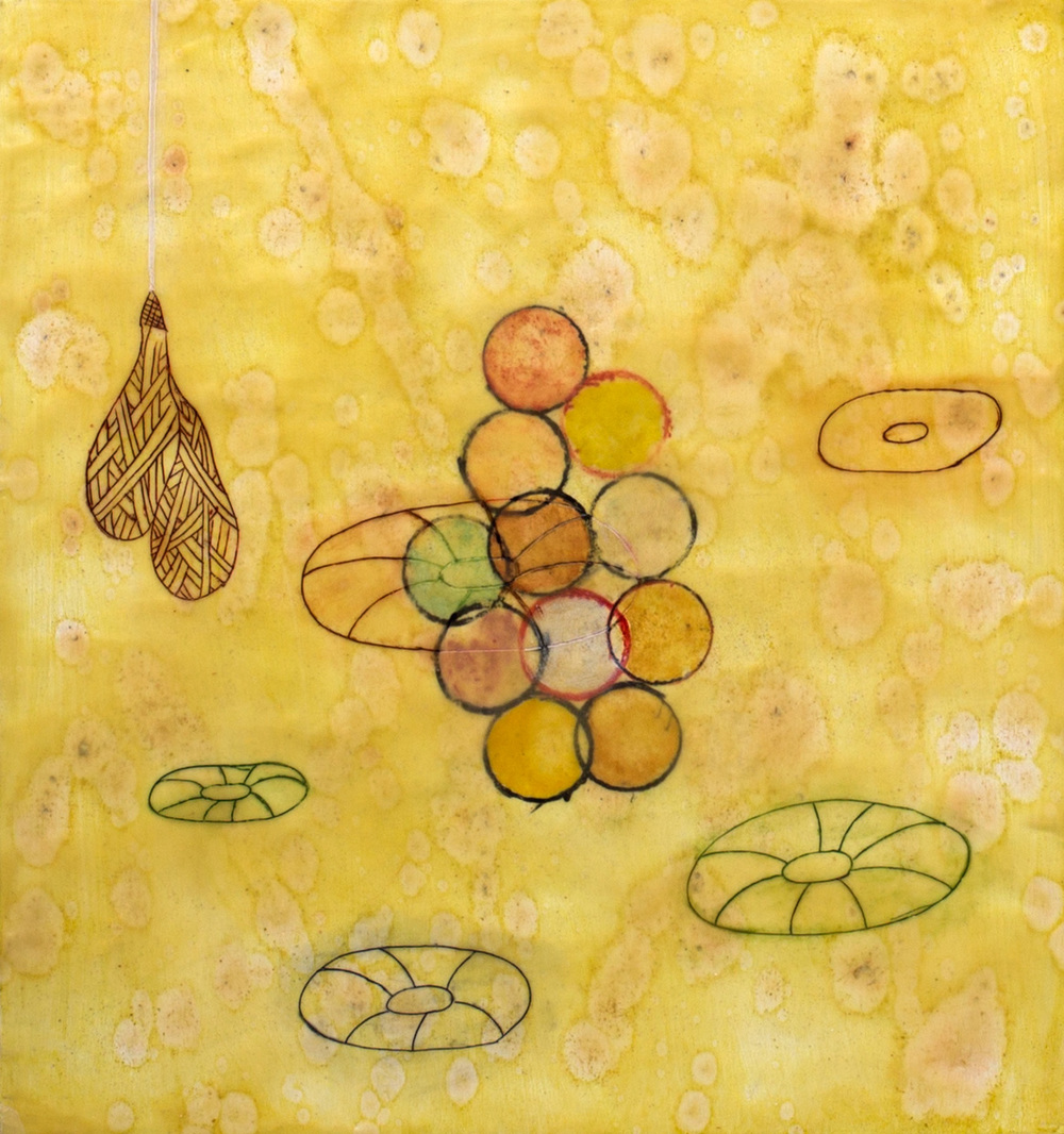 """Life Ring Cluster"", encaustic painting on panel, 22.5"" x 21"" © Tom Gormally"